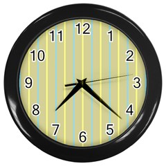 Summer Sand Color Blue And Yellow Stripes Pattern Wall Clocks (black)