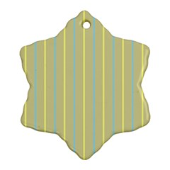 Summer Sand Color Blue And Yellow Stripes Pattern Ornament (snowflake)