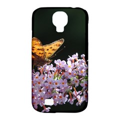 Butterfly Sitting On Flowers Samsung Galaxy S4 Classic Hardshell Case (pc+silicone)