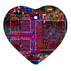 Technology Circuit Board Layout Pattern Ornament (Heart)