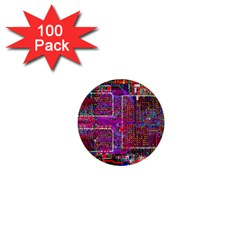 Technology Circuit Board Layout Pattern 1  Mini Buttons (100 pack)
