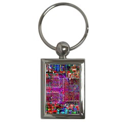 Technology Circuit Board Layout Pattern Key Chains (Rectangle)
