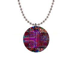 Technology Circuit Board Layout Pattern Button Necklaces