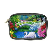 Swan Bird Spring Flowers Trees Lake Pond Landscape Original Aceo Painting Art Coin Purse