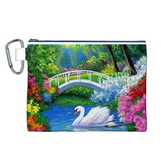 Swan Bird Spring Flowers Trees Lake Pond Landscape Original Aceo Painting Art Canvas Cosmetic Bag (L)
