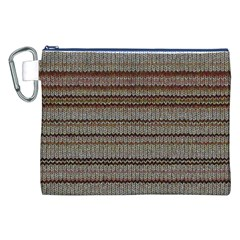Stripy Knitted Wool Fabric Texture Canvas Cosmetic Bag (XXL)