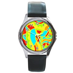 Colorful decor Round Metal Watch