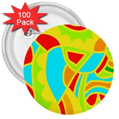 Colorful decor 3  Buttons (100 pack)