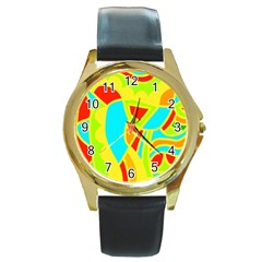 Colorful decor Round Gold Metal Watch