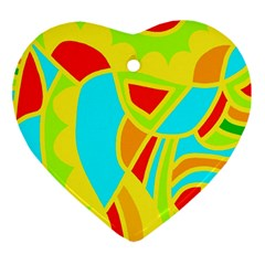 Colorful decor Heart Ornament (2 Sides)