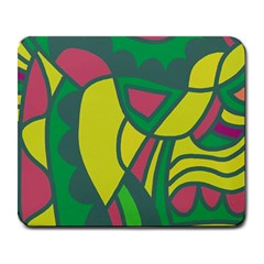 Green abstract decor Large Mousepads