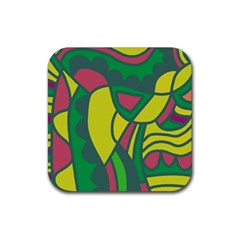 Green abstract decor Rubber Square Coaster (4 pack)