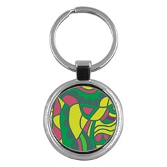 Green abstract decor Key Chains (Round)