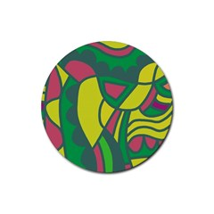 Green abstract decor Rubber Round Coaster (4 pack)