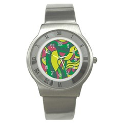 Green abstract decor Stainless Steel Watch