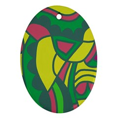 Green abstract decor Oval Ornament (Two Sides)