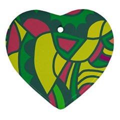 Green abstract decor Heart Ornament (2 Sides)