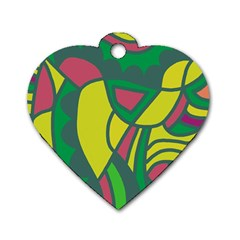 Green abstract decor Dog Tag Heart (Two Sides)