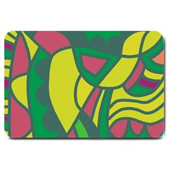 Green abstract decor Large Doormat