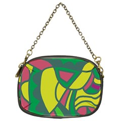 Green abstract decor Chain Purses (Two Sides)