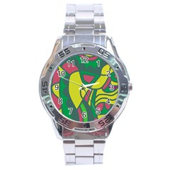 Green abstract decor Stainless Steel Analogue Watch