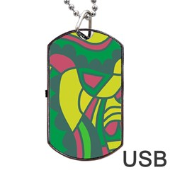 Green abstract decor Dog Tag USB Flash (Two Sides)
