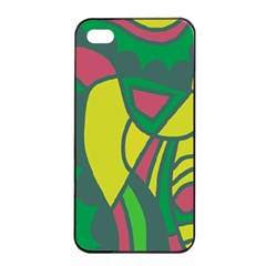 Green abstract decor Apple iPhone 4/4s Seamless Case (Black)