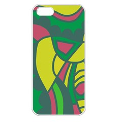 Green abstract decor Apple iPhone 5 Seamless Case (White)