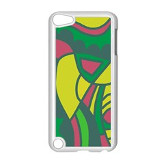 Green abstract decor Apple iPod Touch 5 Case (White)