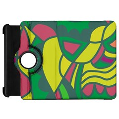 Green abstract decor Kindle Fire HD Flip 360 Case