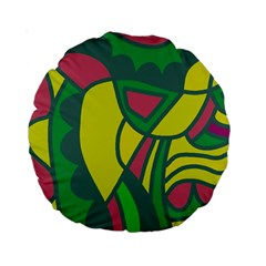 Green abstract decor Standard 15  Premium Round Cushions