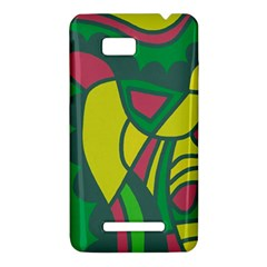 Green abstract decor HTC One SU T528W Hardshell Case