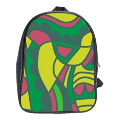 Green abstract decor School Bags (XL)