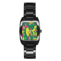 Green abstract decor Stainless Steel Barrel Watch