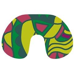 Green abstract decor Travel Neck Pillows