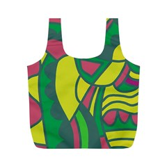 Green abstract decor Full Print Recycle Bags (M)