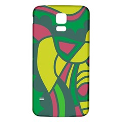Green abstract decor Samsung Galaxy S5 Back Case (White)