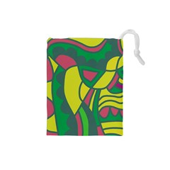 Green abstract decor Drawstring Pouches (Small)