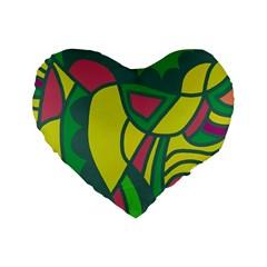 Green abstract decor Standard 16  Premium Flano Heart Shape Cushions