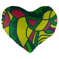 Green abstract decor Large 19  Premium Flano Heart Shape Cushions