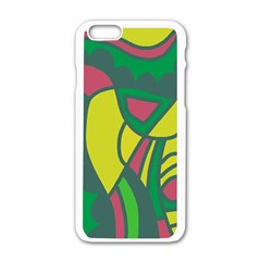 Green abstract decor Apple iPhone 6/6S White Enamel Case