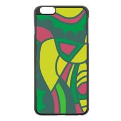 Green abstract decor Apple iPhone 6 Plus/6S Plus Black Enamel Case