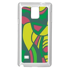 Green abstract decor Samsung Galaxy Note 4 Case (White)