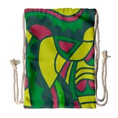 Green abstract decor Drawstring Bag (Large)