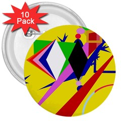 Yellow abstraction 3  Buttons (10 pack)