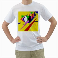 Yellow abstraction Men s T-Shirt (White) (Two Sided)