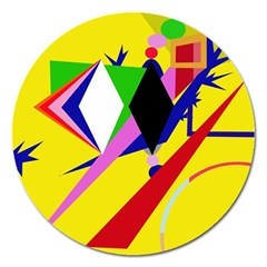 Yellow abstraction Magnet 5  (Round)