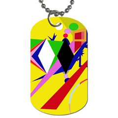 Yellow abstraction Dog Tag (One Side)