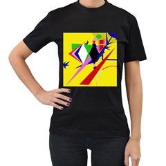 Yellow abstraction Women s T-Shirt (Black) (Two Sided)