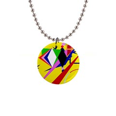 Yellow abstraction Button Necklaces